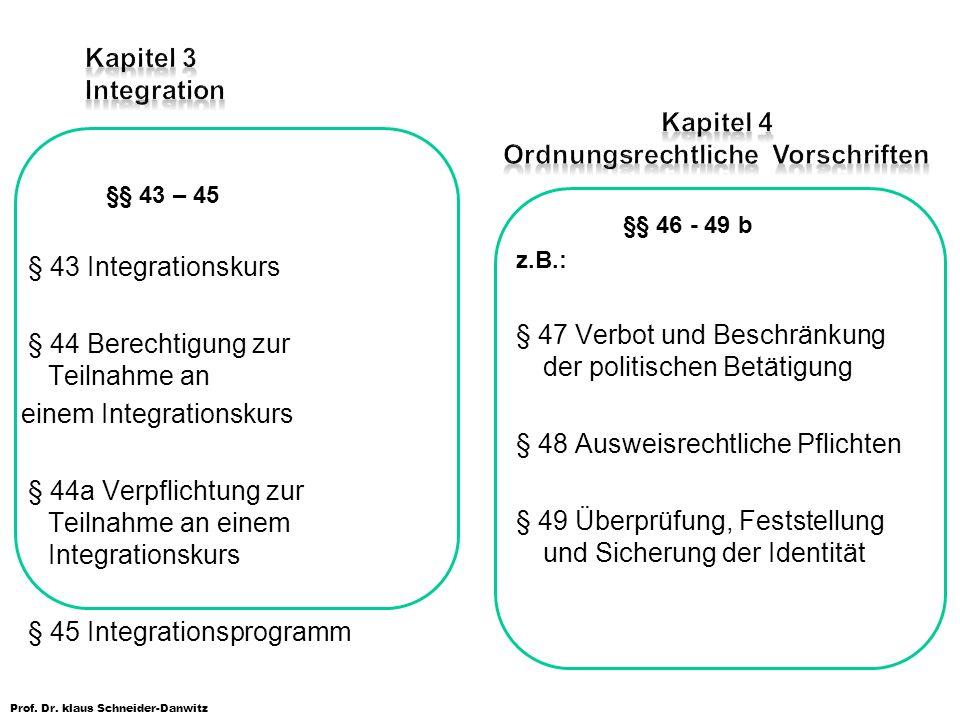 Kapitel 3 Integration Kapitel 4 Ordnungsrechtliche Vorschriften