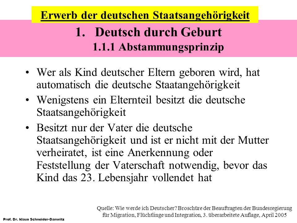 Deutsch durch Geburt 1.1.1 Abstammungsprinzip