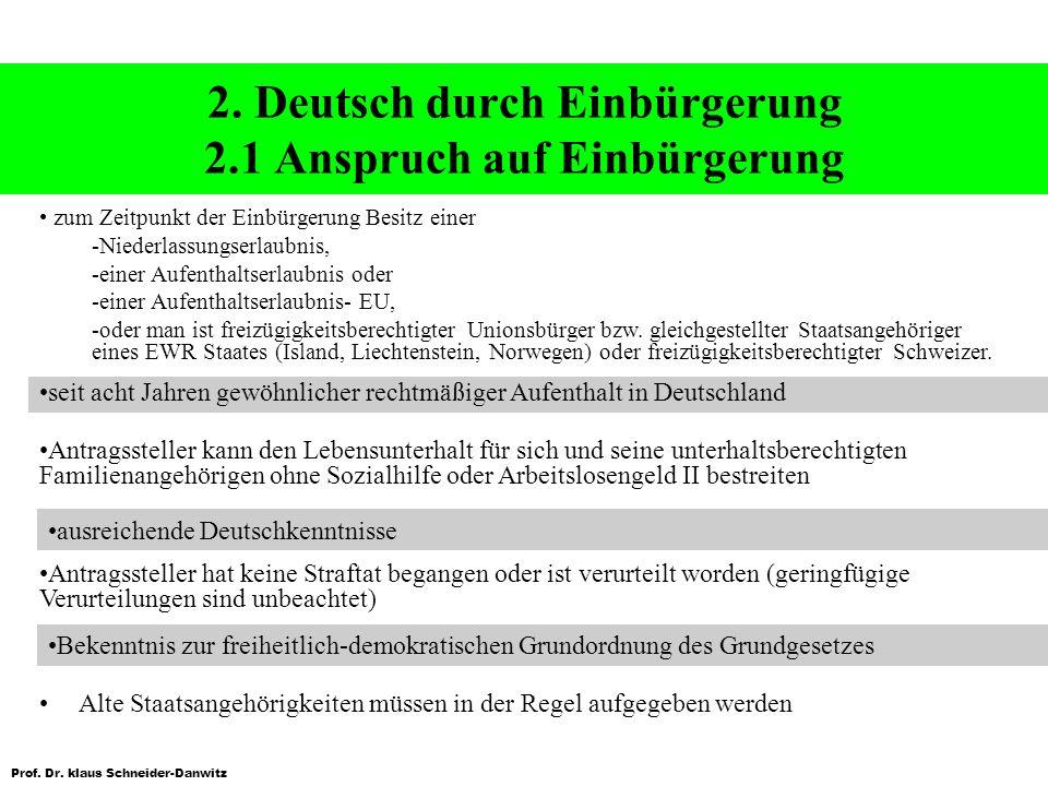 2. Deutsch durch Einbürgerung 2.1 Anspruch auf Einbürgerung