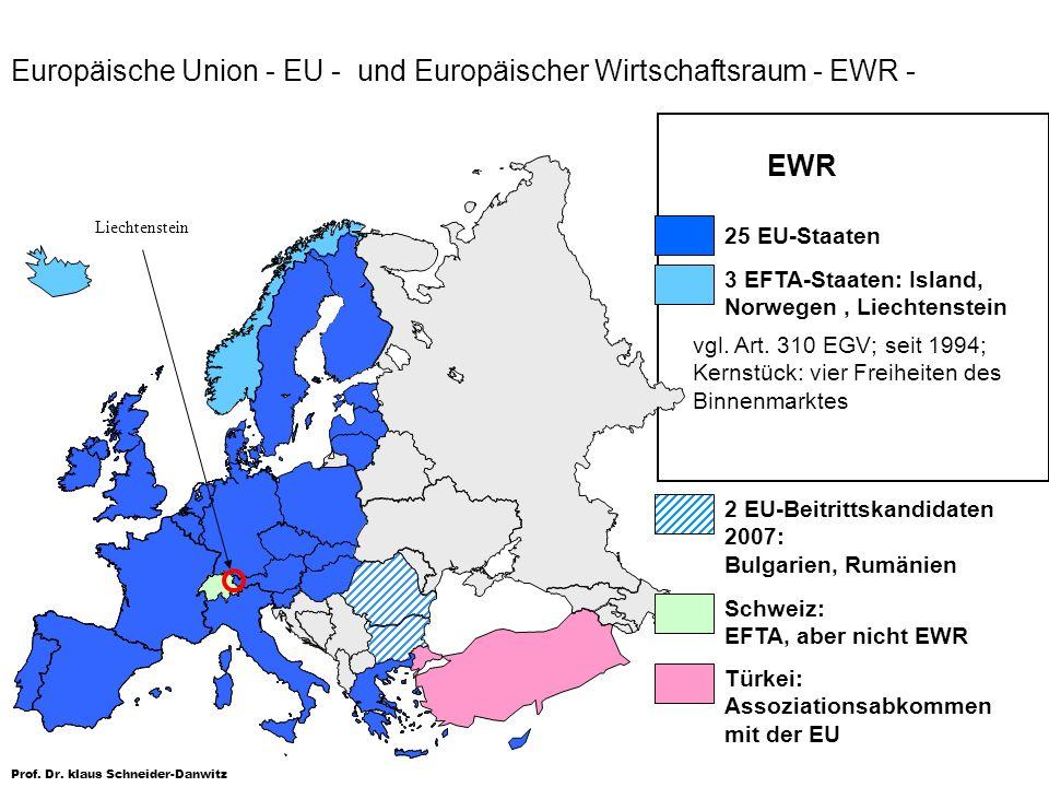 Europäische Union - EU - und Europäischer Wirtschaftsraum - EWR -