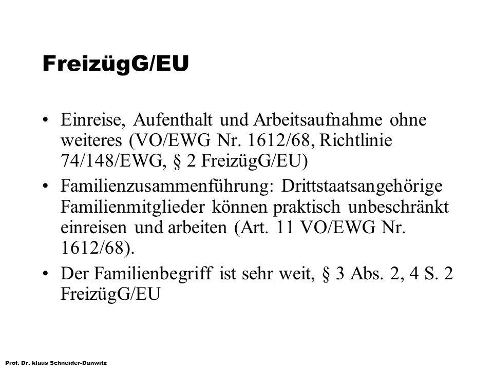 FreizügG/EU Einreise, Aufenthalt und Arbeitsaufnahme ohne weiteres (VO/EWG Nr. 1612/68, Richtlinie 74/148/EWG, § 2 FreizügG/EU)