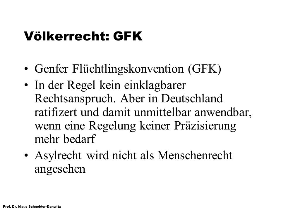 Völkerrecht: GFKGenfer Flüchtlingskonvention (GFK)