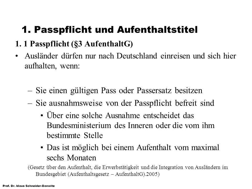 1. Passpflicht und Aufenthaltstitel