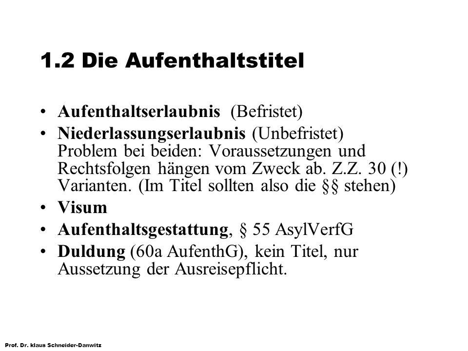 1.2 Die Aufenthaltstitel Aufenthaltserlaubnis (Befristet)