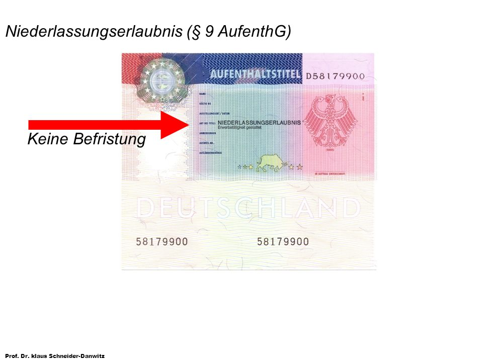 Niederlassungserlaubnis (§ 9 AufenthG)