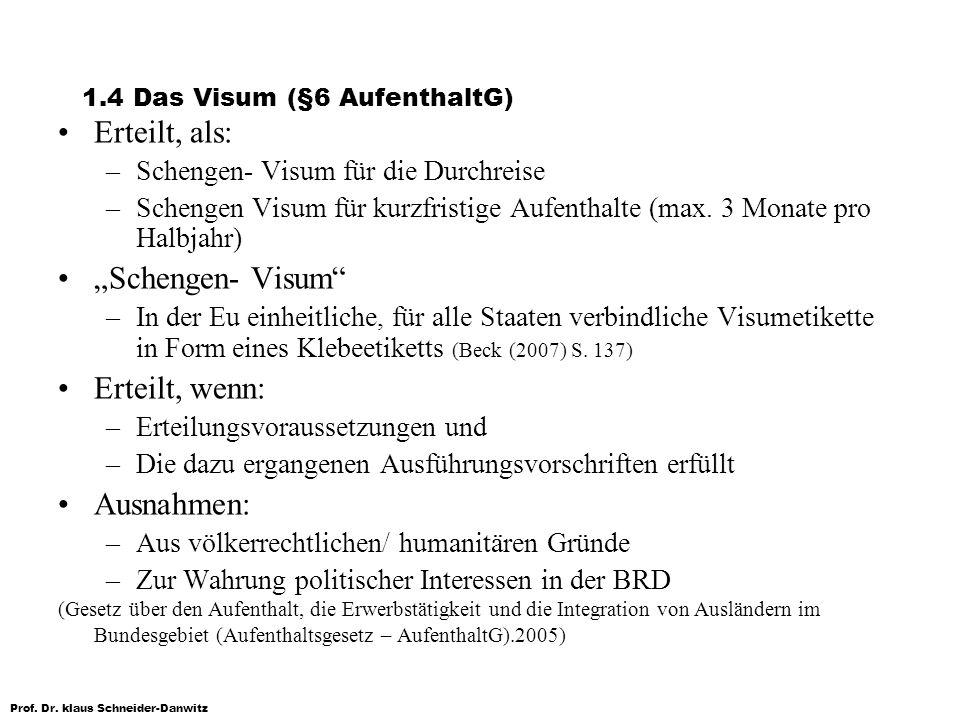1.4 Das Visum (§6 AufenthaltG)