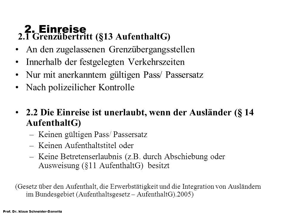 2.1 Grenzübertritt (§13 AufenthaltG)