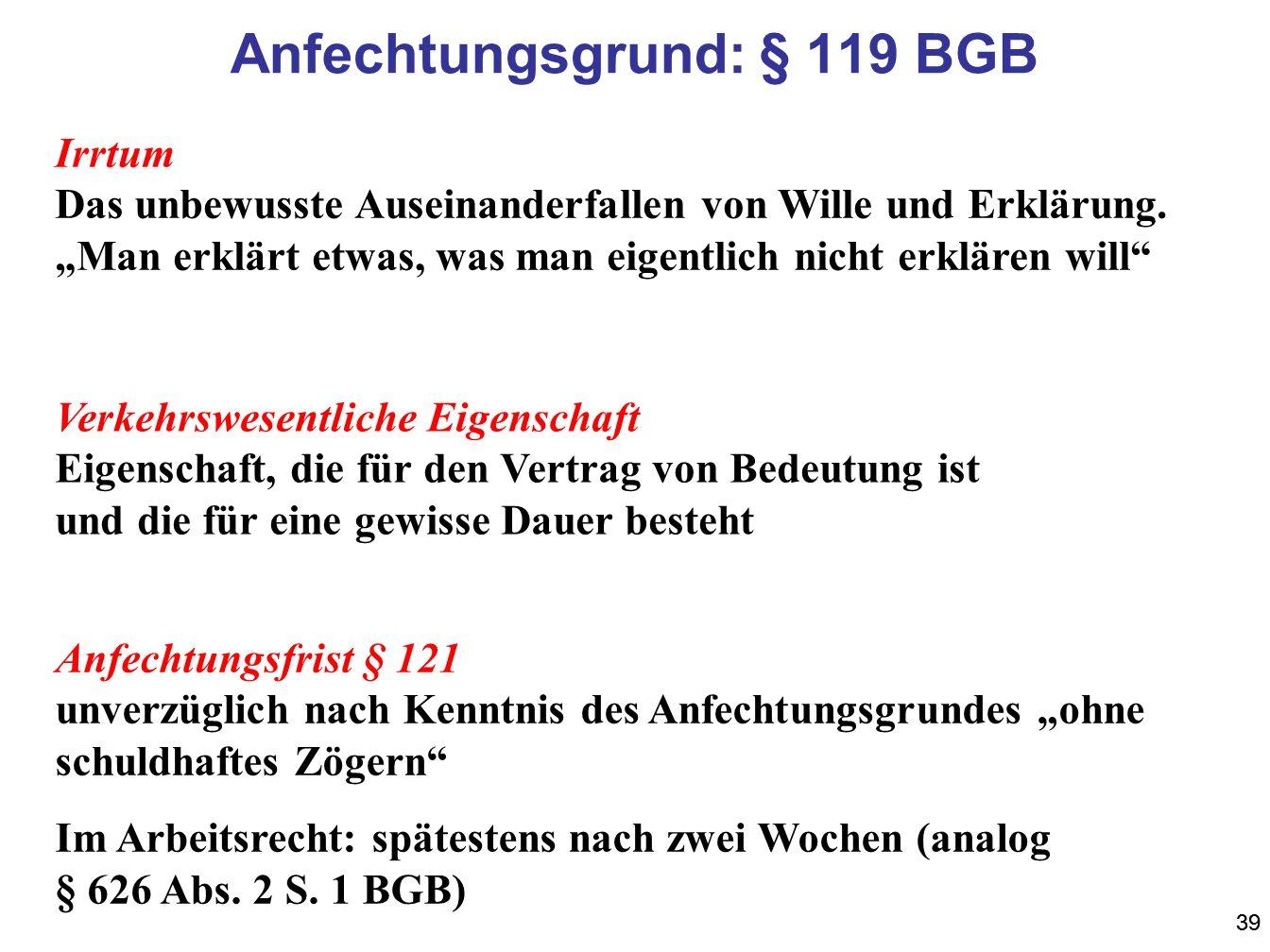 Anfechtungsgrund: § 119 BGB