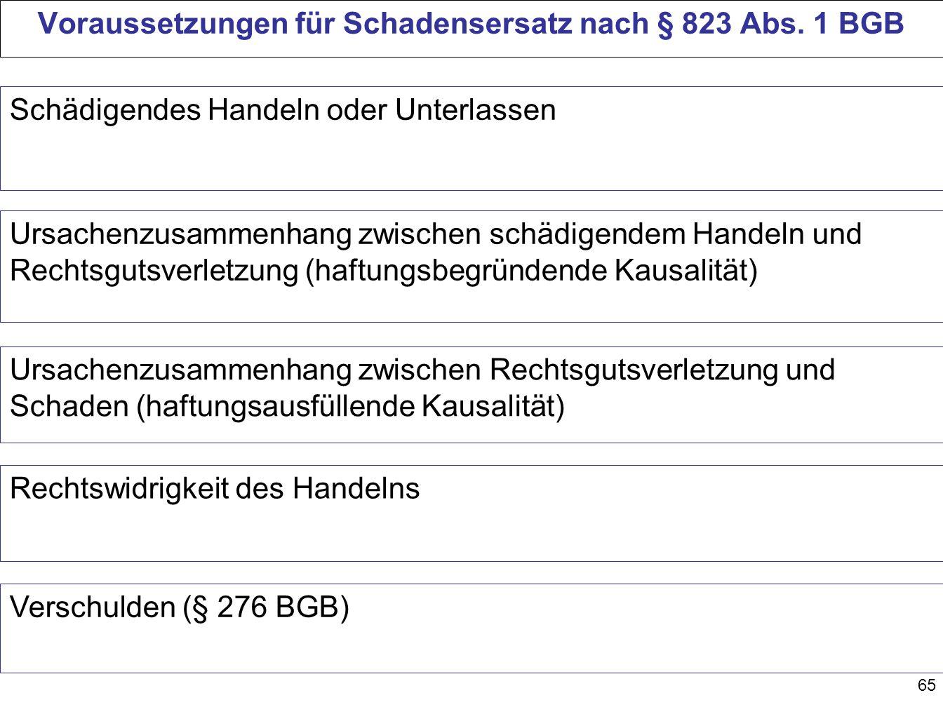 Voraussetzungen für Schadensersatz nach § 823 Abs. 1 BGB