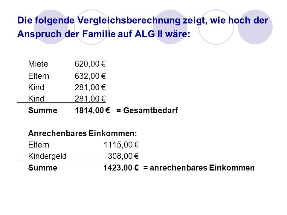 Miete 620,00 € Die folgende Vergleichsberechnung zeigt, wie hoch der