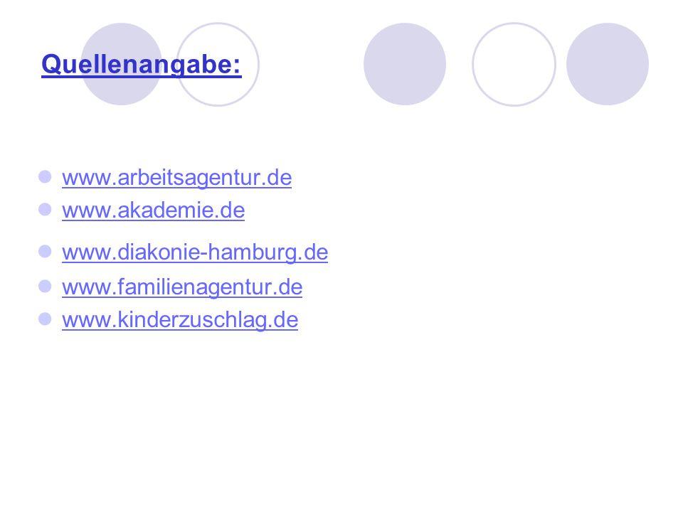 Quellenangabe: www.arbeitsagentur.de www.akademie.de