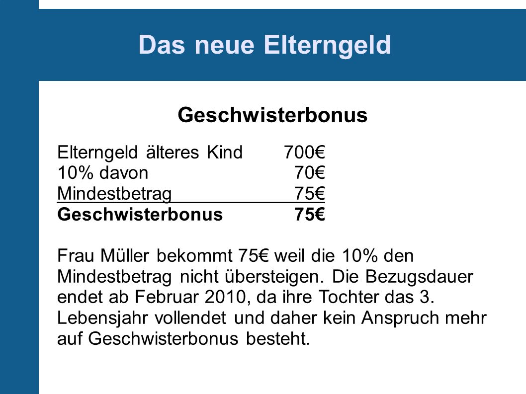 Das neue Elterngeld Geschwisterbonus Elterngeld älteres Kind 700€