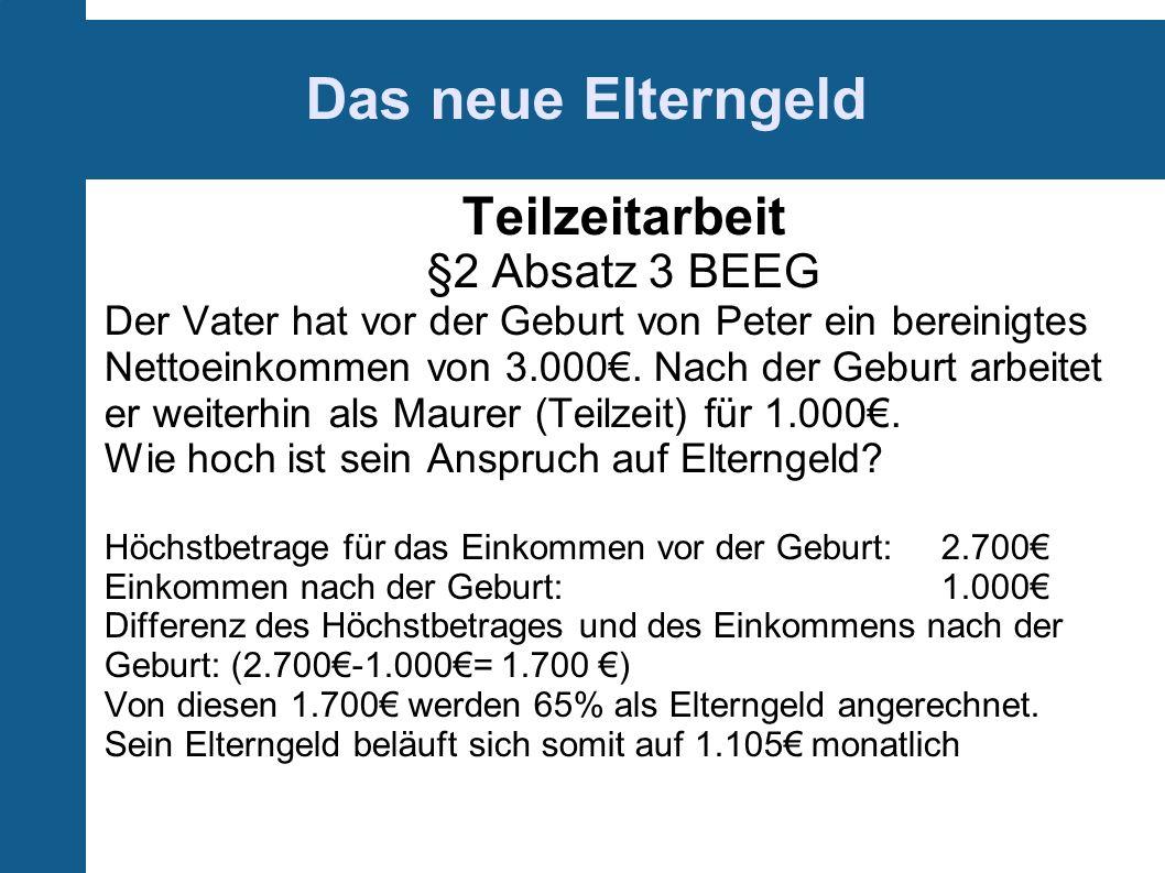 Das neue Elterngeld Teilzeitarbeit §2 Absatz 3 BEEG