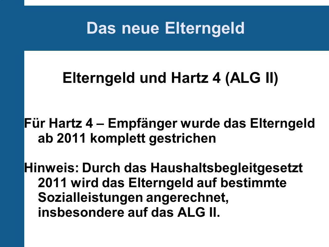 Elterngeld und Hartz 4 (ALG II)