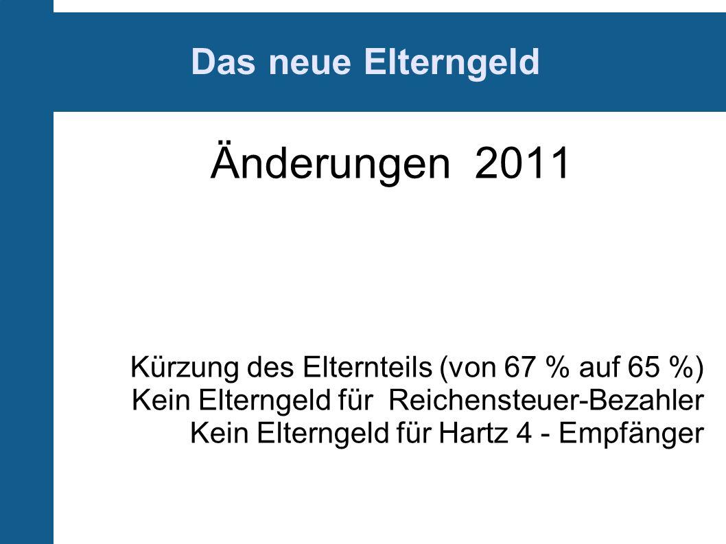 Änderungen 2011 Das neue Elterngeld
