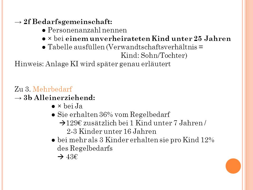 → 2f Bedarfsgemeinschaft: