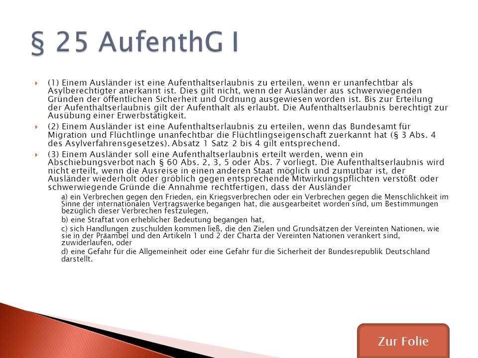 § 25 AufenthG I