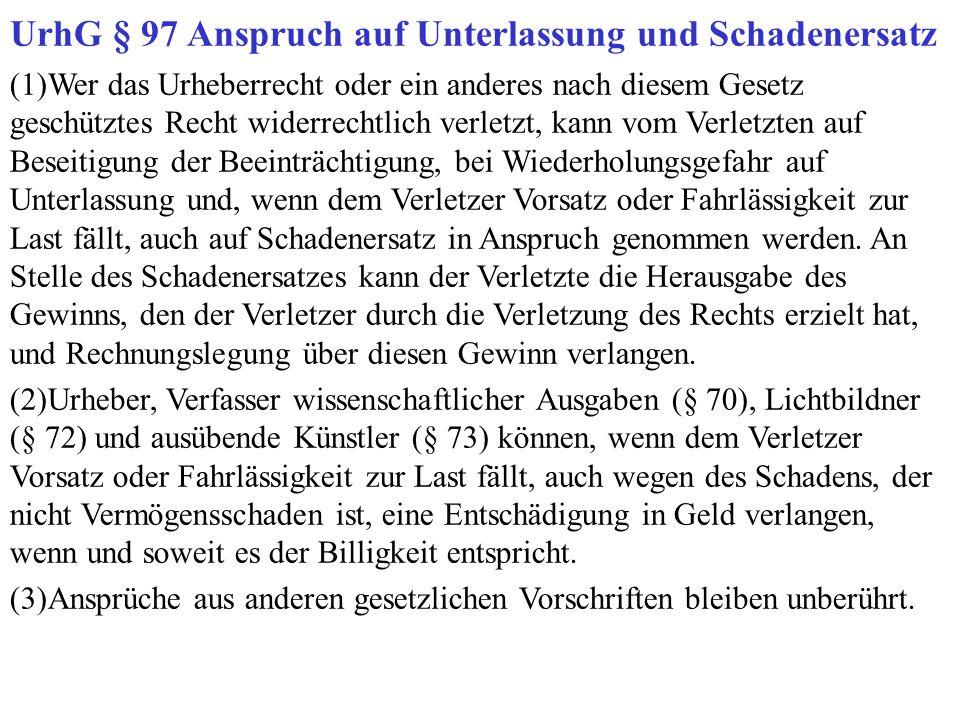 UrhG § 97 Anspruch auf Unterlassung und Schadenersatz