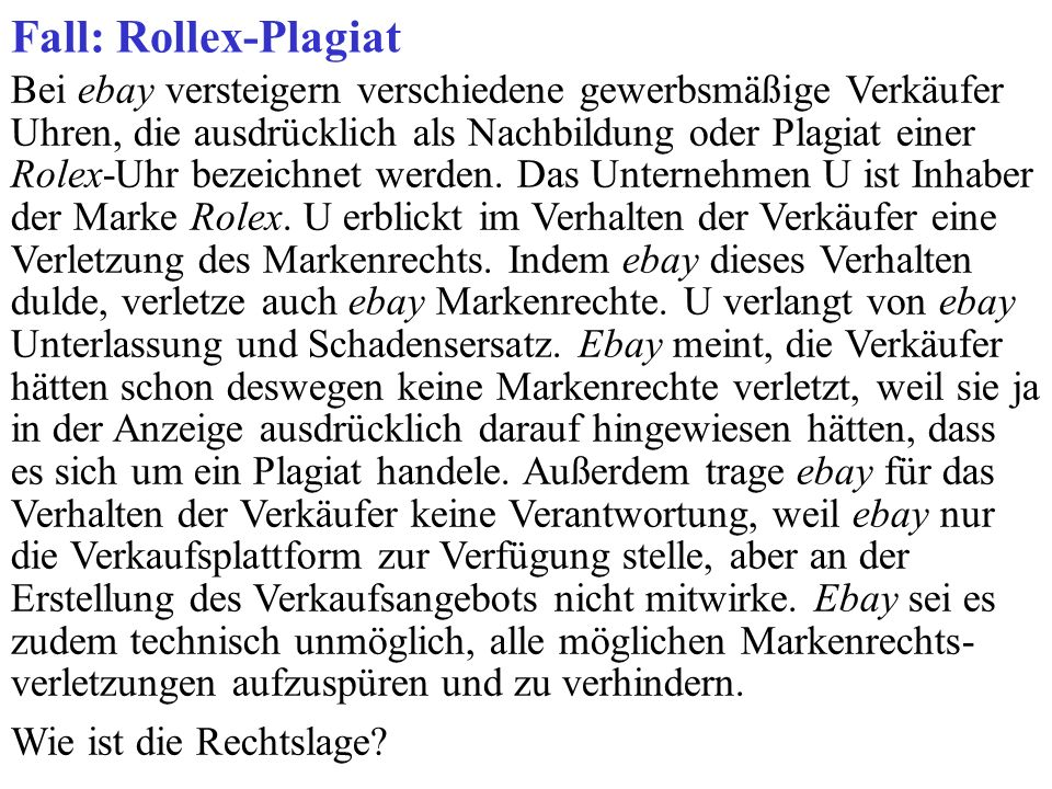 Fall: Rollex-Plagiat