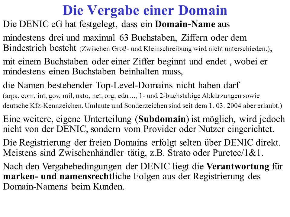 Die Vergabe einer Domain