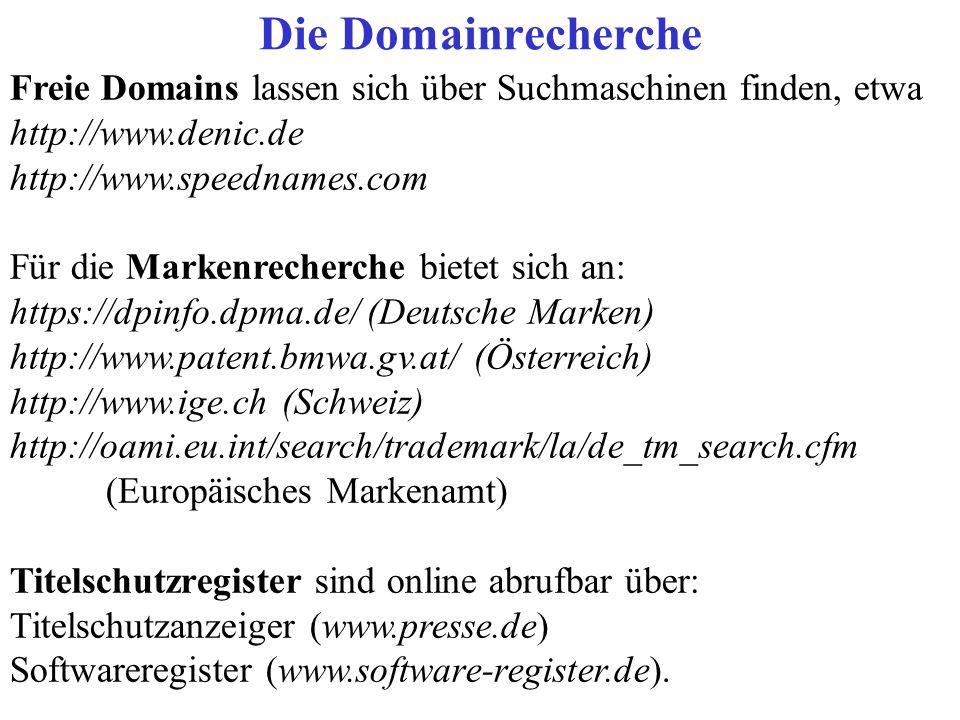 Die DomainrechercheFreie Domains lassen sich über Suchmaschinen finden, etwa. http://www.denic.de. http://www.speednames.com.