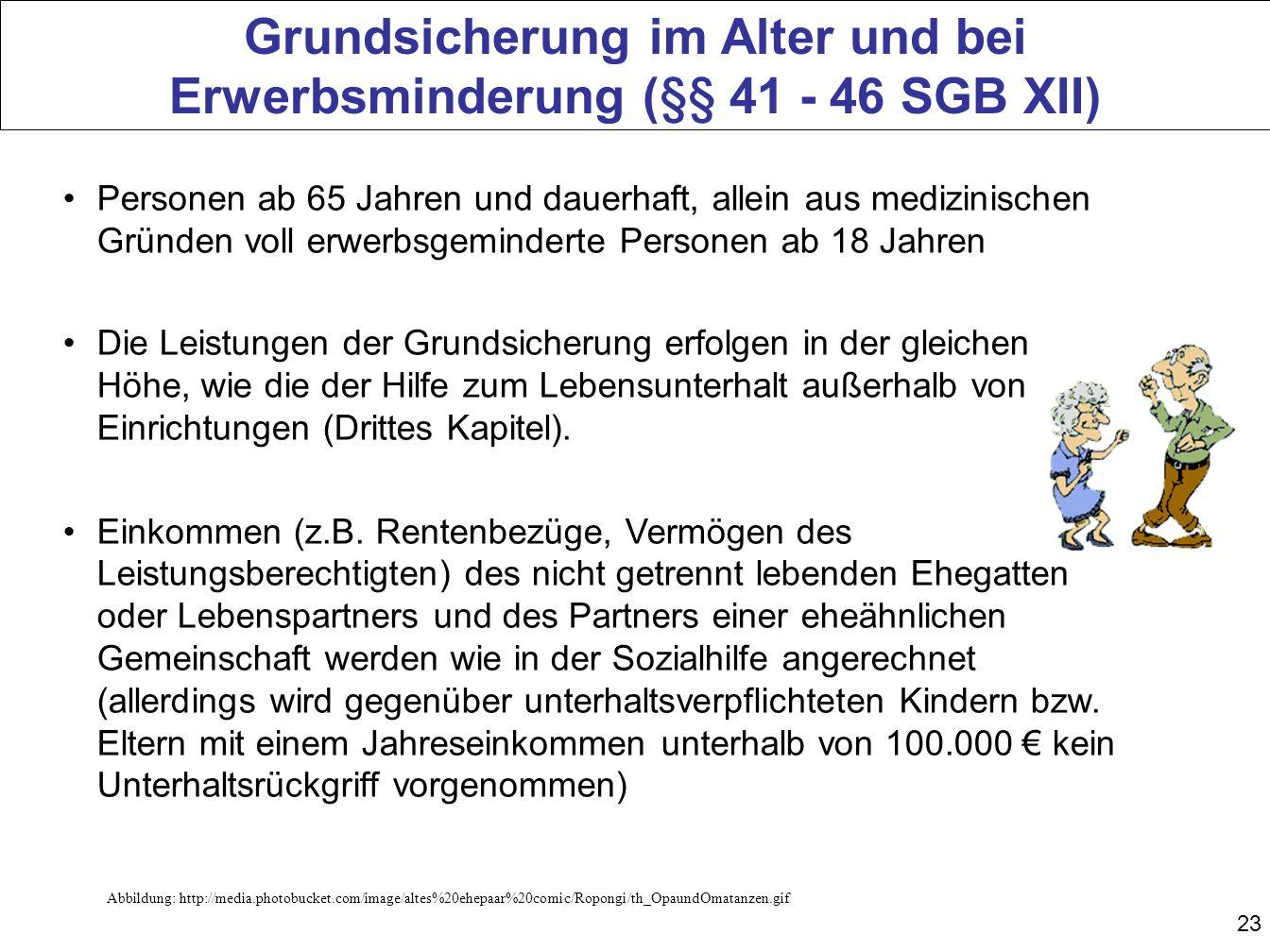 Grundsicherung im Alter und bei Erwerbsminderung (§§ 41 - 46 SGB XII)
