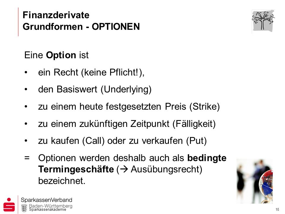 Finanzderivate Grundformen - OPTIONEN