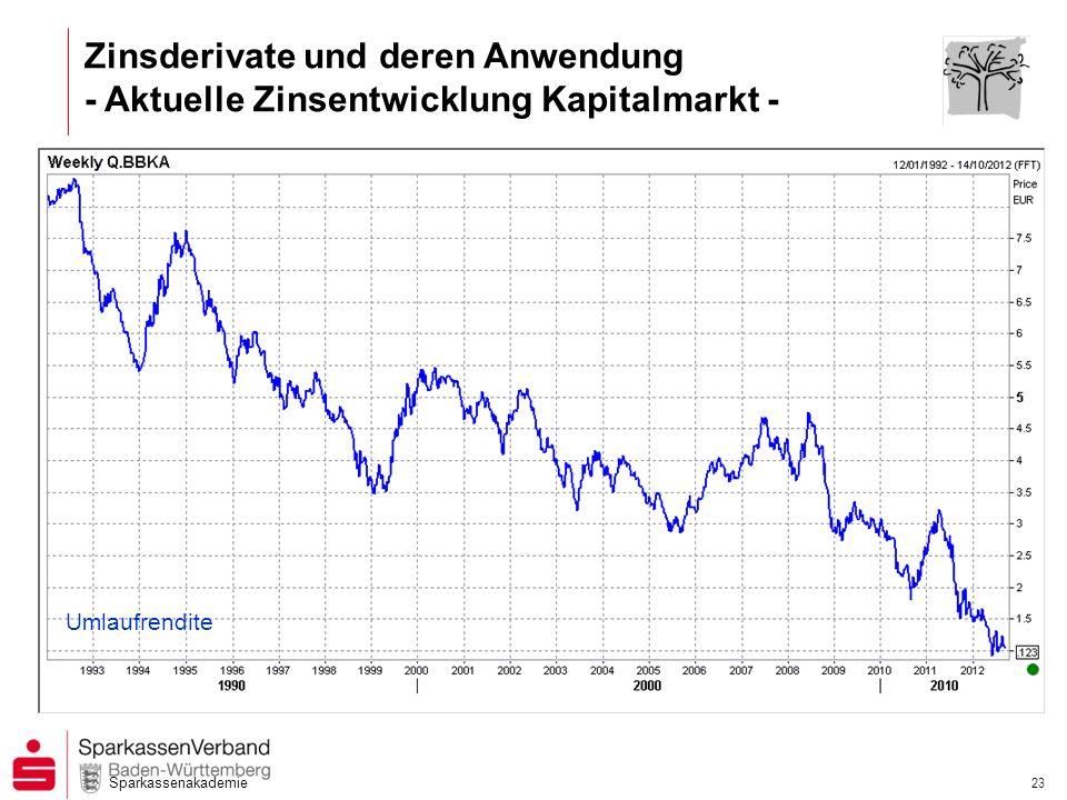 Zinsderivate und deren Anwendung - Aktuelle Zinsentwicklung Kapitalmarkt -