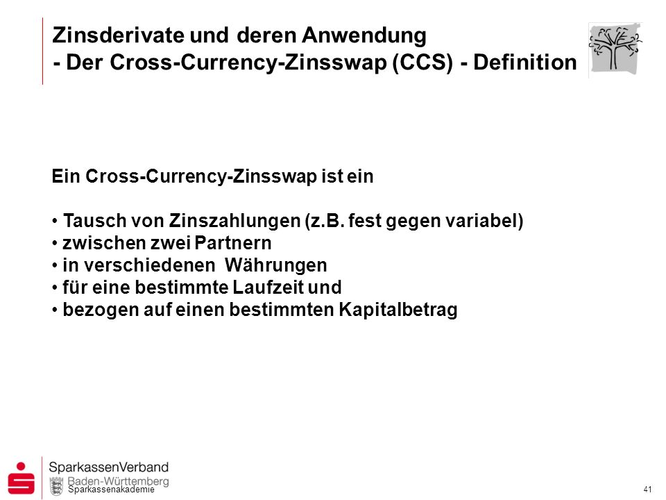 Zinsderivate und deren Anwendung - Der Cross-Currency-Zinsswap (CCS) - Definition