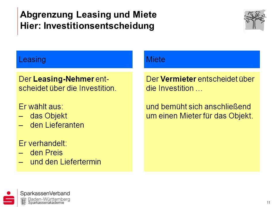 Abgrenzung Leasing und Miete Hier: Investitionsentscheidung