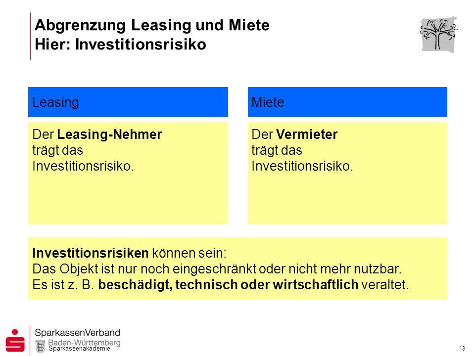 Abgrenzung Leasing und Miete Hier: Investitionsrisiko
