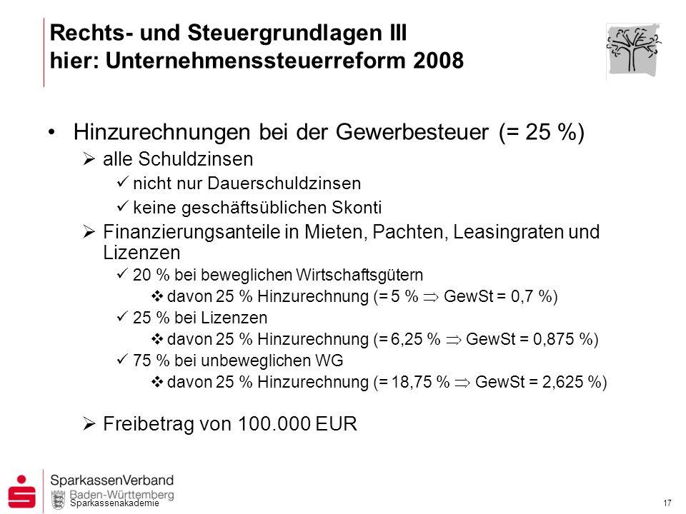 Rechts- und Steuergrundlagen III hier: Unternehmenssteuerreform 2008