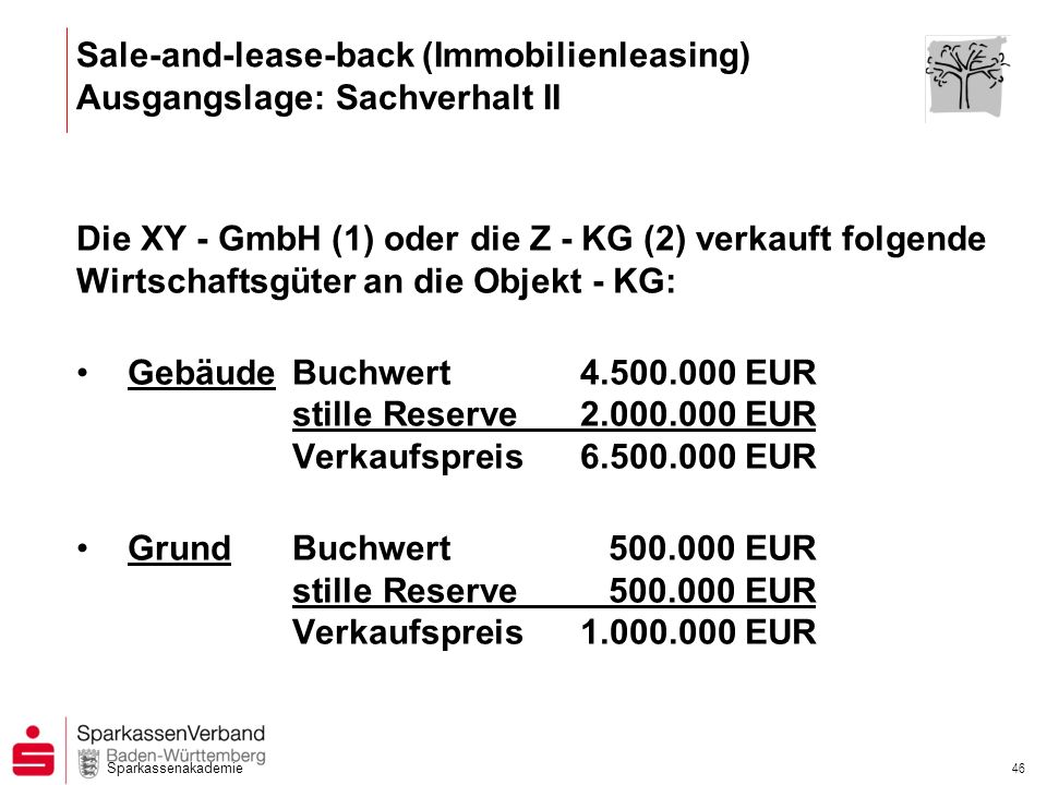 Sale-and-lease-back (Immobilienleasing) Ausgangslage: Sachverhalt II