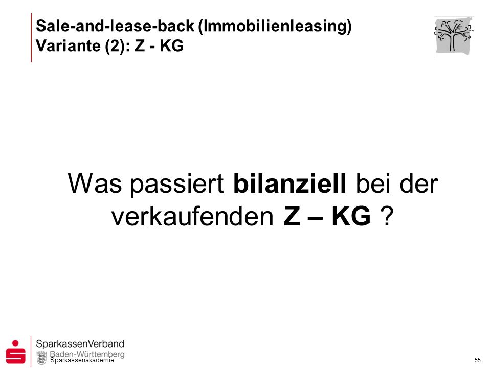 Sale-and-lease-back (Immobilienleasing) Variante (2): Z - KG