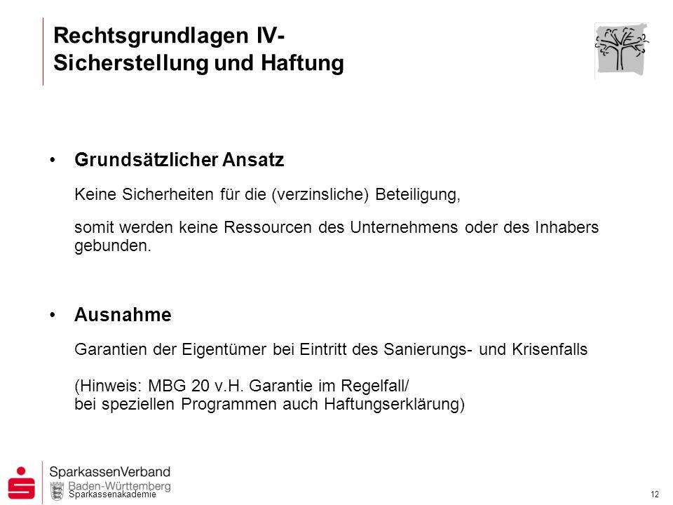Rechtsgrundlagen IV- Sicherstellung und Haftung