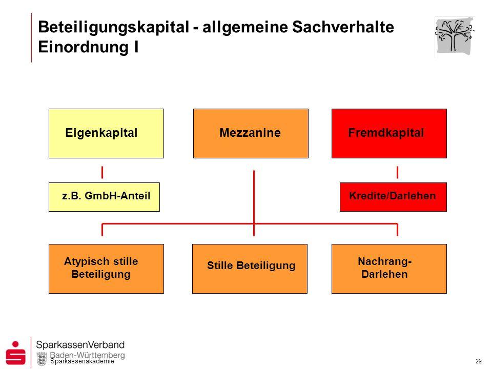 Beteiligungskapital - allgemeine Sachverhalte Einordnung I