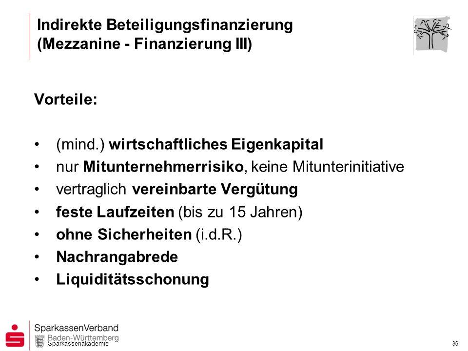 Indirekte Beteiligungsfinanzierung (Mezzanine - Finanzierung III)