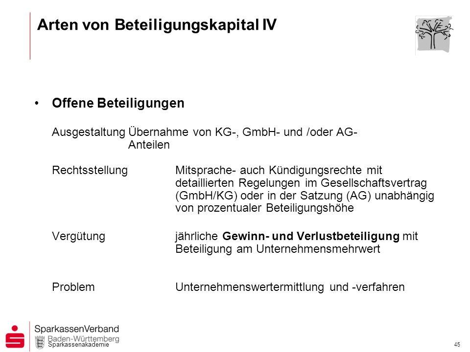 Arten von Beteiligungskapital IV