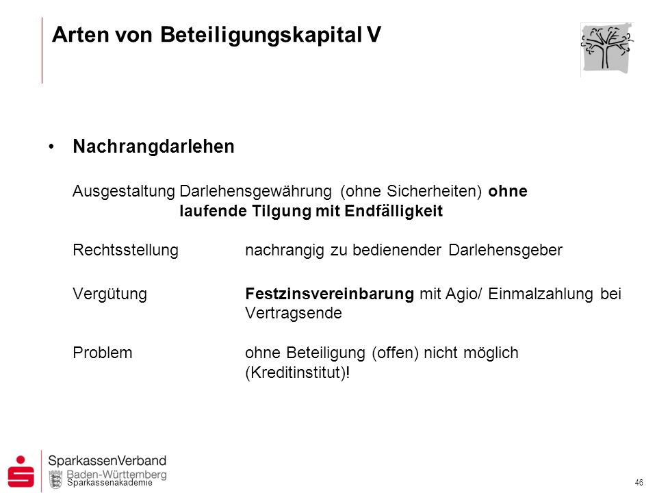 Arten von Beteiligungskapital V