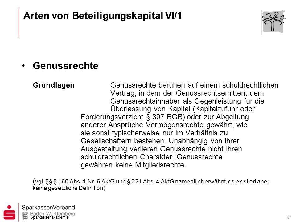 Arten von Beteiligungskapital VI/1
