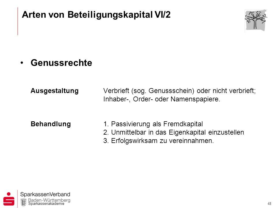 Arten von Beteiligungskapital VI/2