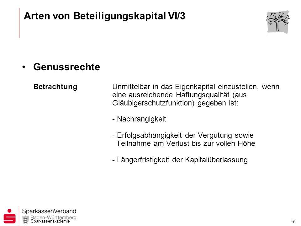 Arten von Beteiligungskapital VI/3