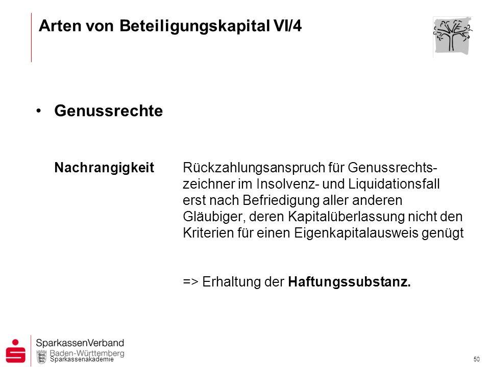Arten von Beteiligungskapital VI/4