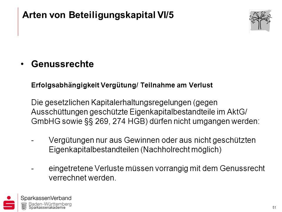 Arten von Beteiligungskapital VI/5