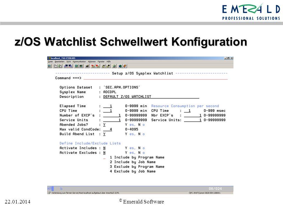 z/OS Watchlist Schwellwert Konfiguration