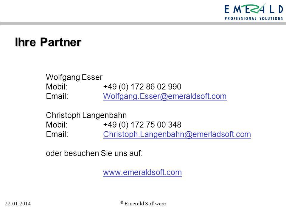 Ihre Partner Wolfgang Esser Mobil: +49 (0) 172 86 02 990