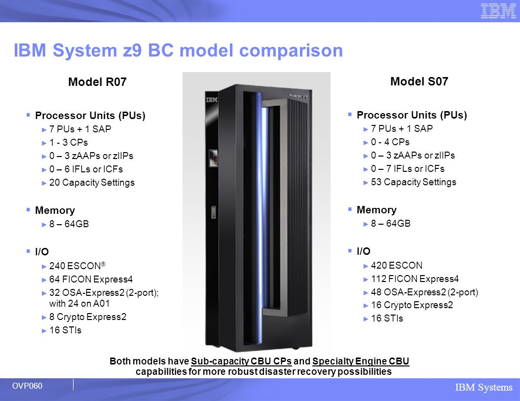 IBM System z9 BC model comparison
