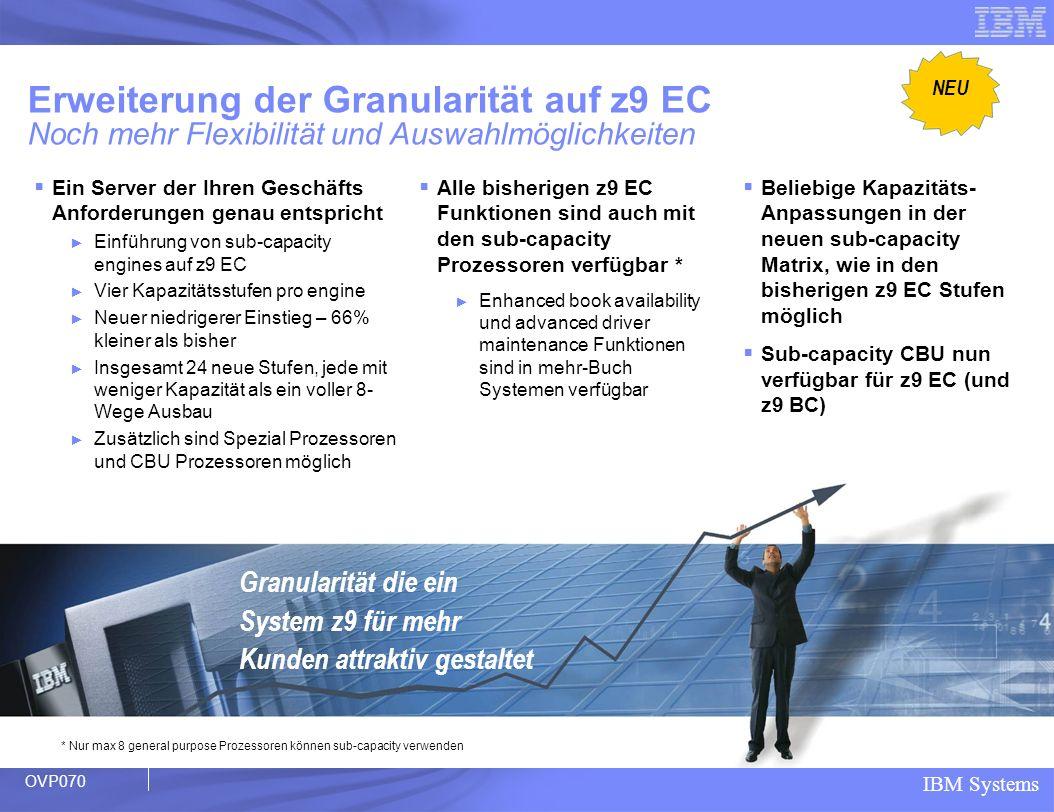 NEU Erweiterung der Granularität auf z9 EC Noch mehr Flexibilität und Auswahlmöglichkeiten.