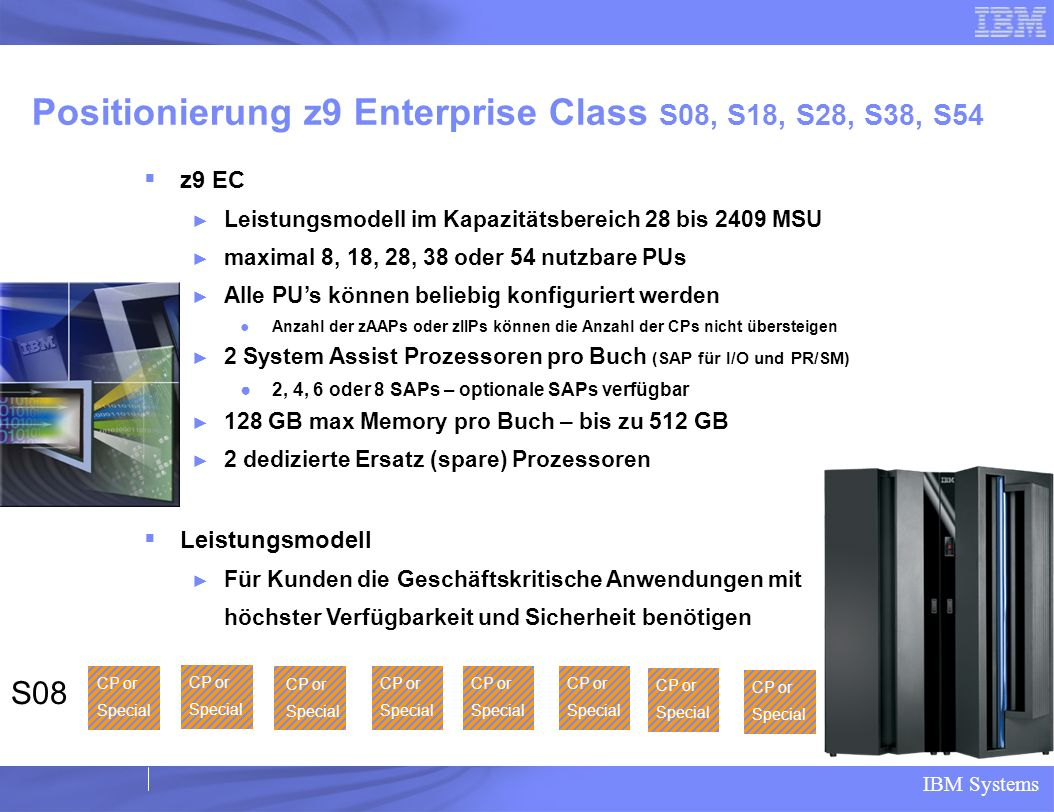 Positionierung z9 Enterprise Class S08, S18, S28, S38, S54