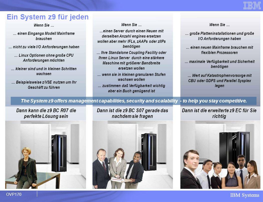 Ein System z9 für jeden Wenn Sie … … einen Eingangs Modell Mainframe brauchen. … nicht zu viele I/O Anforderungen haben.